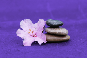 pierres empilées avec une fleur d'hibiscus à coté