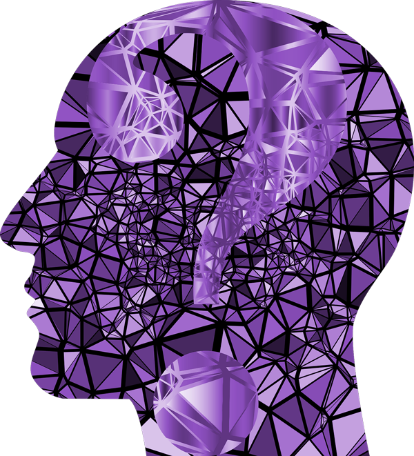 tête violette point d'interrogation