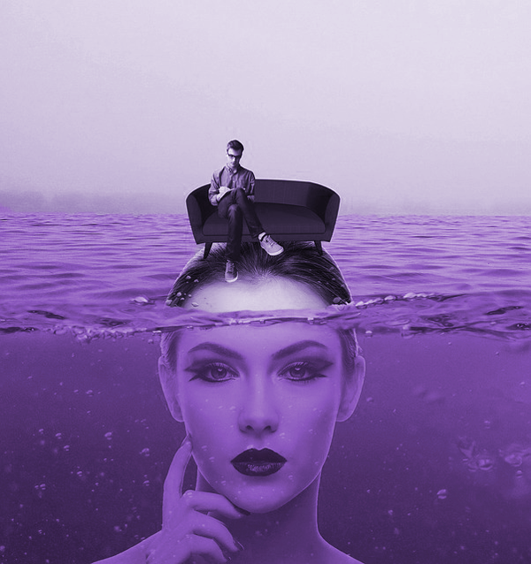 Photomontage montrant que l'inconscient est la partie cachée de l'iceberg